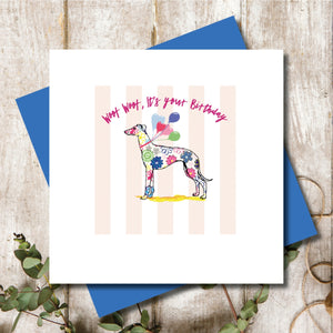 Greyhound Happy Birthday Greeting Card