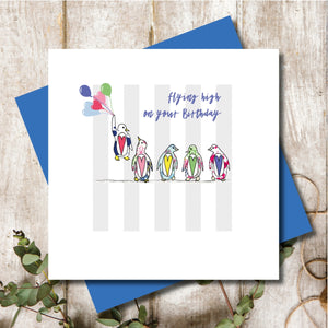 Flying High Penguins Happy Birthday Greeting Card