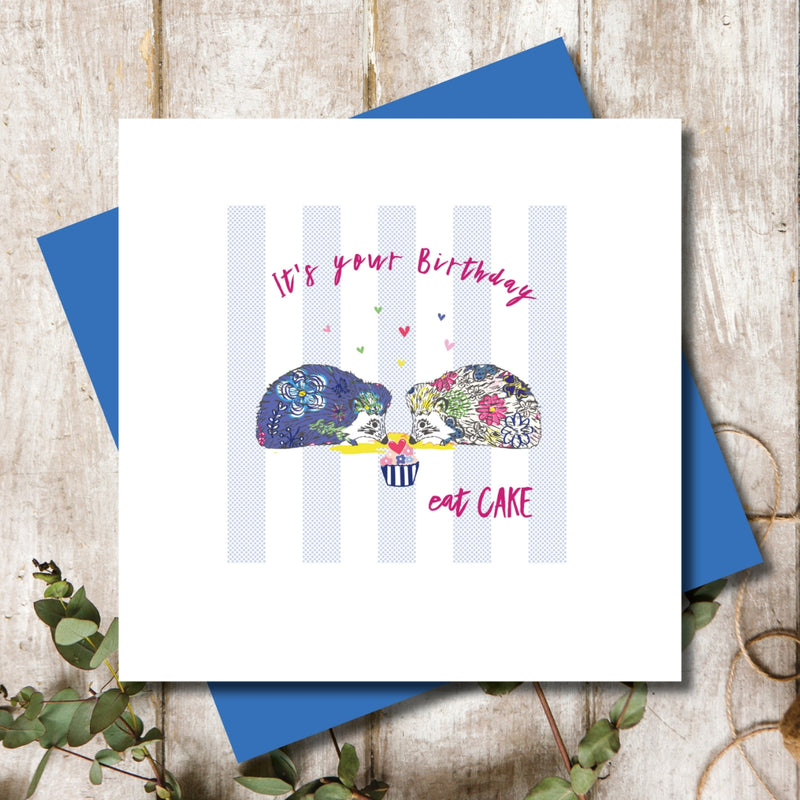 Eat Cake Hedgehog Happy Birthday Greeting Card