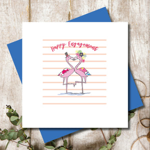 Engagement Flamingo Love Greeting Card