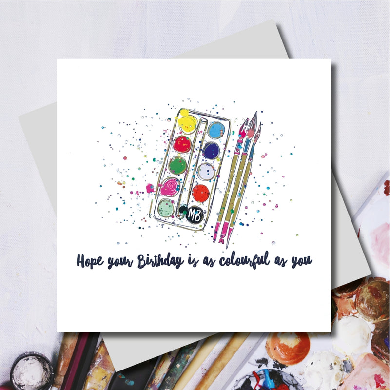 Colourful Paints Happy Birthday Greeting Card