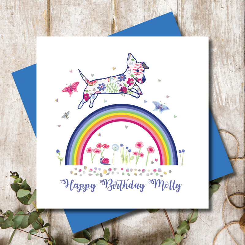 Personalised Rainbow Love  Dachshund Greeting Card