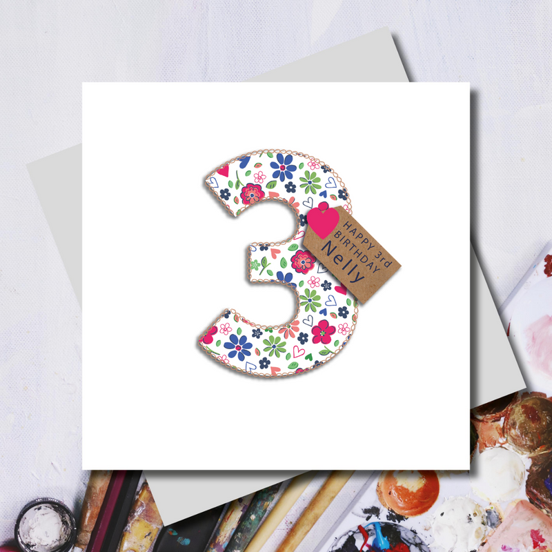 Personalised 3rd Birthday Ditsy Number Greeting Card
