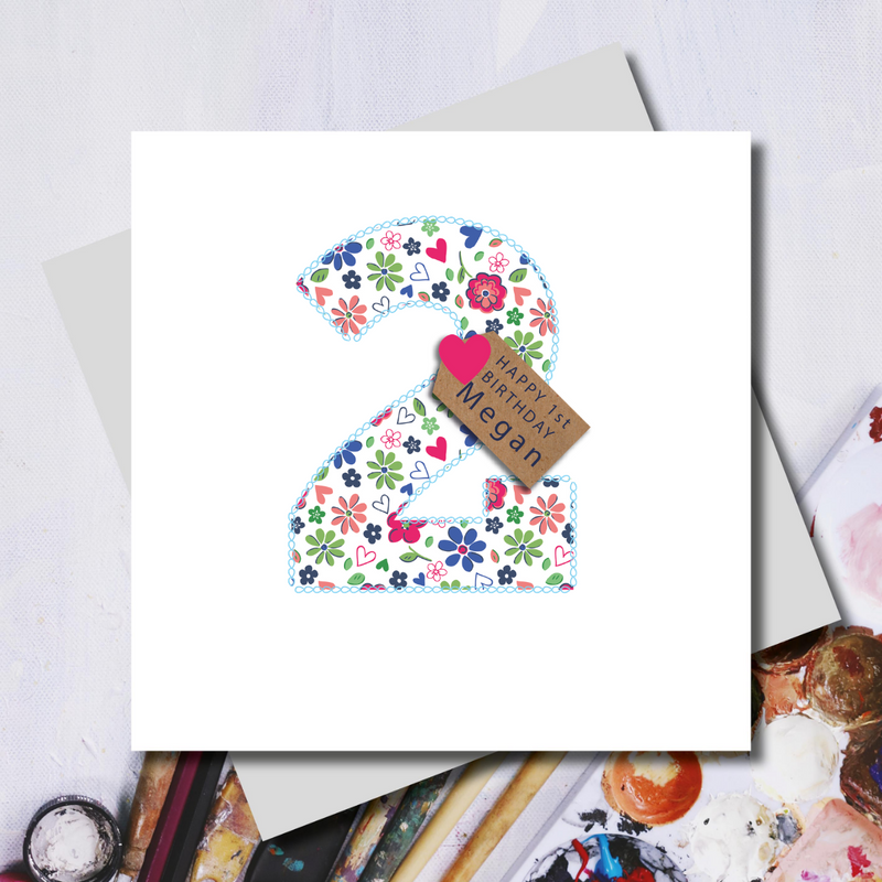 Personalised Second Birthday Ditsy Number Greeting Card