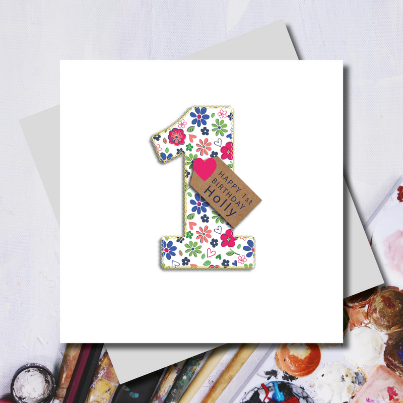 Personalised First Birthday Ditsy Number Greeting Card