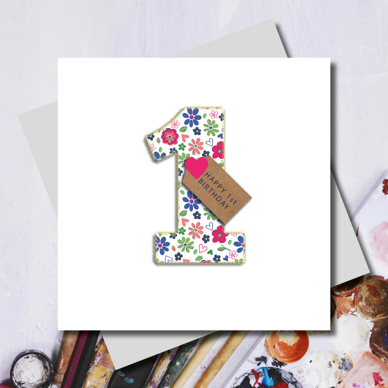First Birthday Ditsy Number Greeting Card