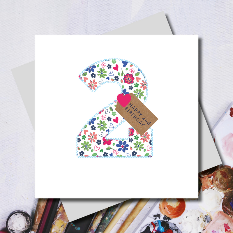 Second Birthday Ditsy Number Greeting Card