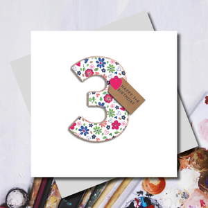 3rd Birthday Ditsy Number Greeting Card