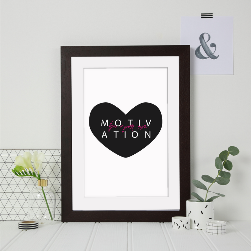 Motivation Heart Monochrome Print