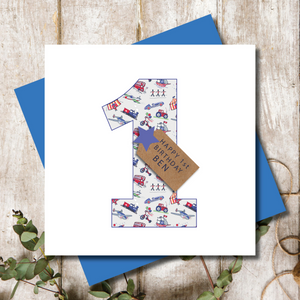 Personalised 1st Birthday Boys Transport Number Greeting Card