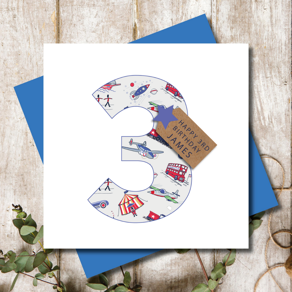 Personalised 3rd Birthday Boys Transport  Number Greeting Card