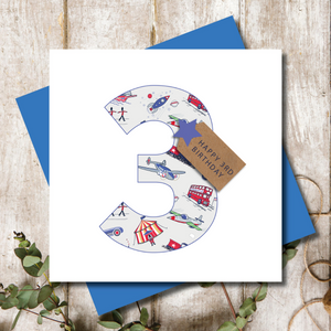 3rd Boys Transport Birthday Number Greeting Card
