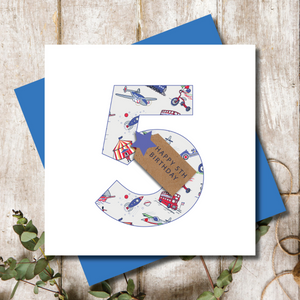 5th Birthday Boys Transport Number Greeting Card