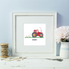 Personalised Farmer  Red Tractor White Framed Print