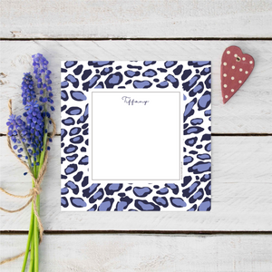 Personalised Midnight Blue Leopard Print Notecards Stationery