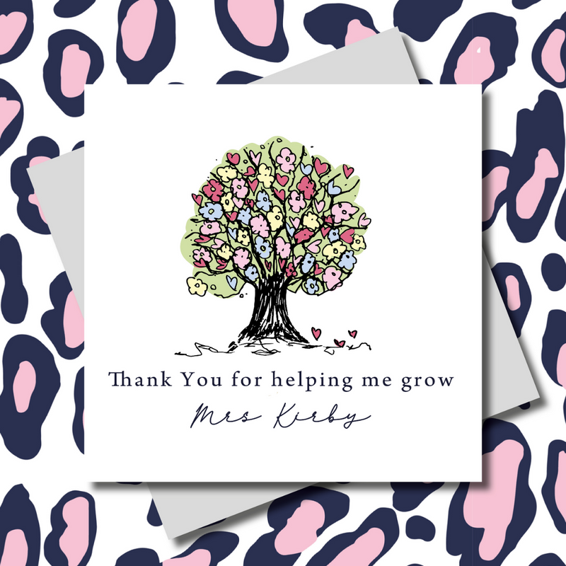 Thank you for helping me grow Tree Teacher Greeting Card