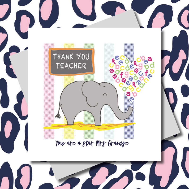 Personalised Nelly The Elephant Thank You Teacher Greeting Card