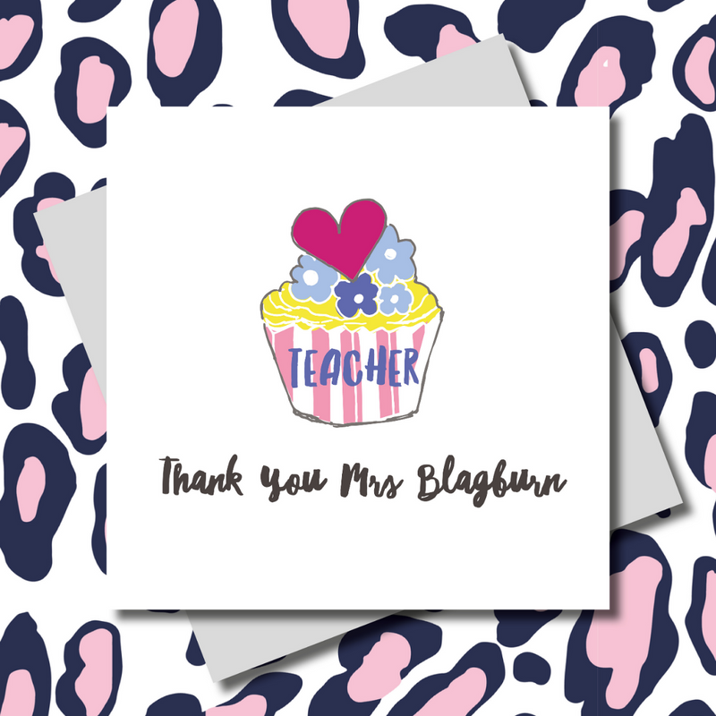 Personalised Teacher Cupcake Thank You Greeting Card