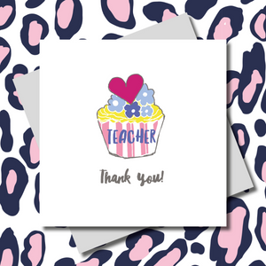 Teacher Cupcake Thank You Greeting Card