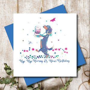 Doughnut Ditsy Dachshund  Hip Hip Hooray Greeting Card