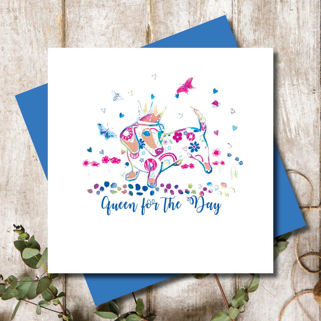 Queen For The Day Dotty Dachshund Greeting Card