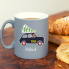 Christmas Dachshund London Taxi Personalised Grey Mug