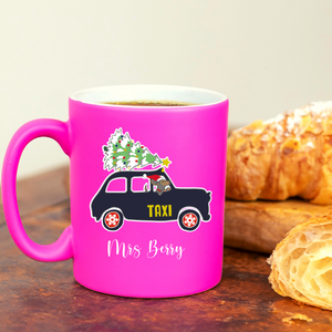 Christmas Dachshund London Taxi Personalised Neon Pink Mug