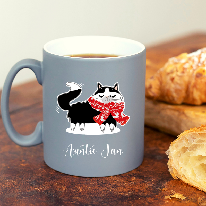 Christmas Snowy Cat with Red Scarf Personalised Neon Pink Mug