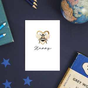 Bee Happy Bumble Bee Rose Gold Foil Greeting Card