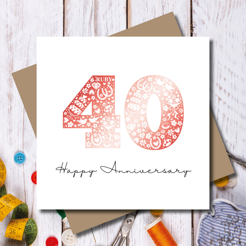 Ruby Red 40th Wedding Anniversary foiled Greeting Card