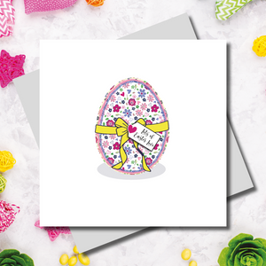 Ditsy Floral Print Easter Wreath Greeting Card