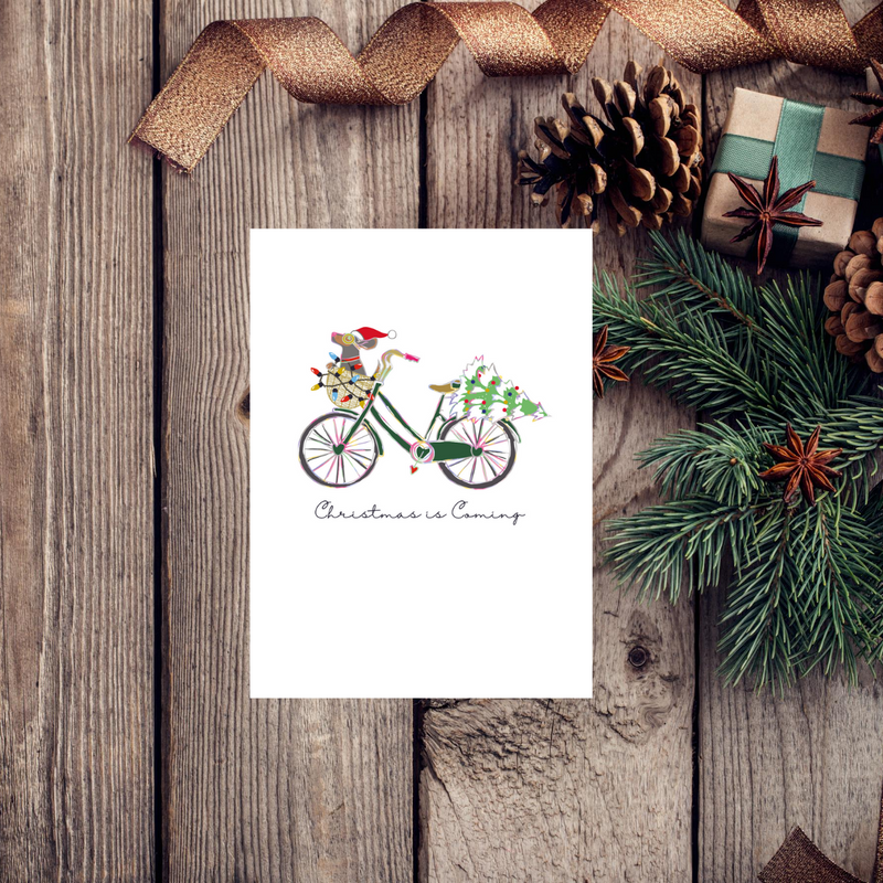 Dog Noel Bike Christmas Greeting Card