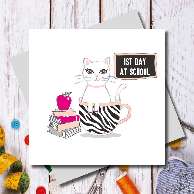 1st Day Good Luck cat Greeting Card