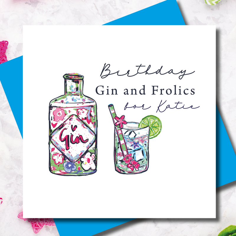Personalised Happy Birthday Gin and Frolics Greeting Card