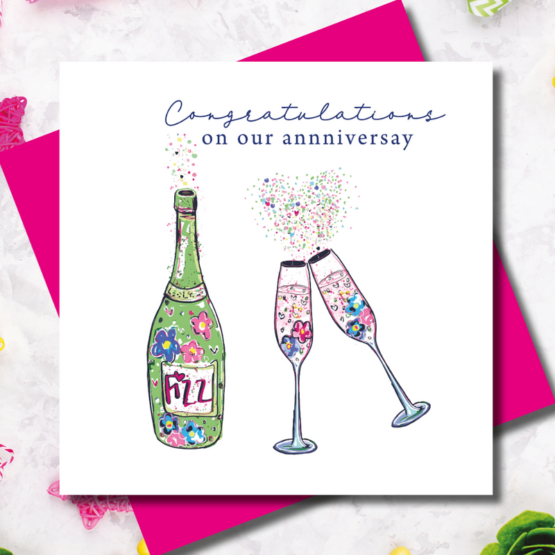 Personalised Tipsy Congratulations Anniversary Greeting Card
