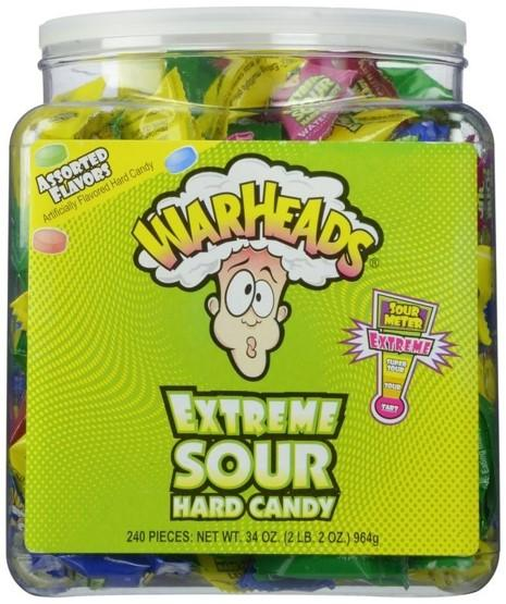 Confectionery - Warheads Sour Hard Candy Tub 3.1g X 240 - nutsandsweets.com.au