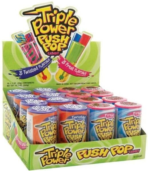 Confectionery TRIPLE POWER PUSH POP 34G X 16 - nutsandsweets.com.au