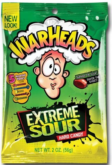 Confectionery - WARHEADS EXTREME SOUR BAG 56G X 12 - nutsandsweets.com.au