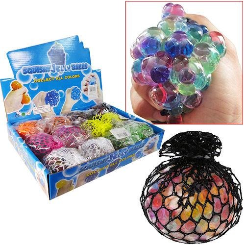 Squishy Jelly Ball Rainbow Multi Colour Kids Toy 12 PCS