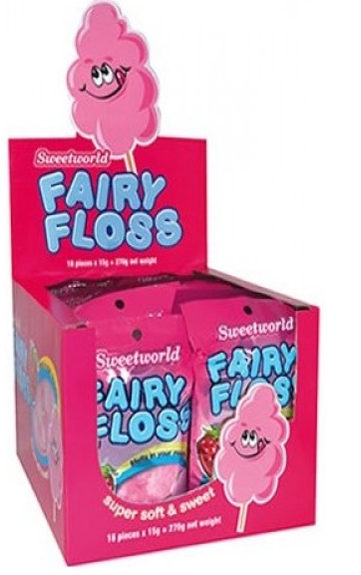 Confectionery SWEETWORLD FAIRY FLOSS 15G X 18