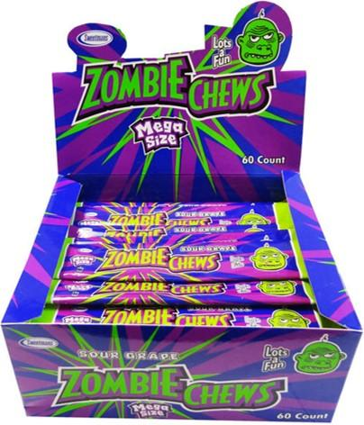Confectionery - ZOMBIE CHEWS GRAPE CHEWS 28G X 60 - nutsandsweets.com.au