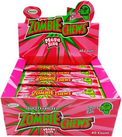 ZOMBIE CHEWS STRAWBERRY 28G X 60