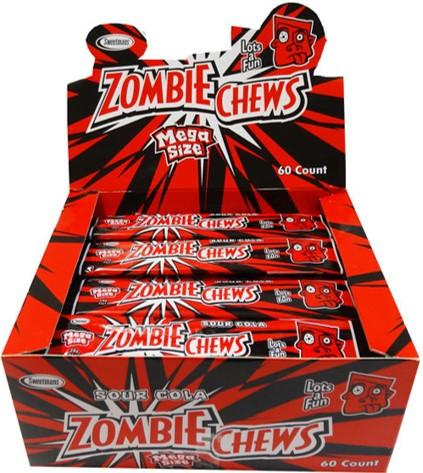 Confectionery - ZOMBIE CHEWS COLA  28G X 60 - nutsandsweets.com.au
