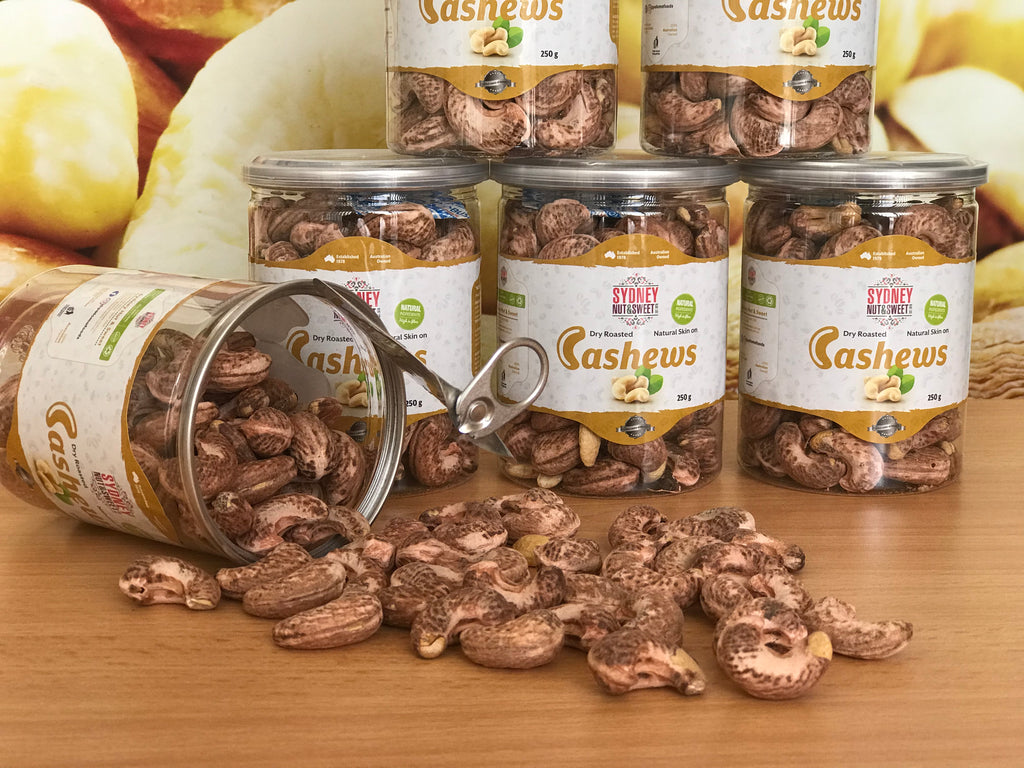 "Cashews Dry Roasted & Lightly Salted ""Skin On"" 250g - nutsandsweets.com.au"