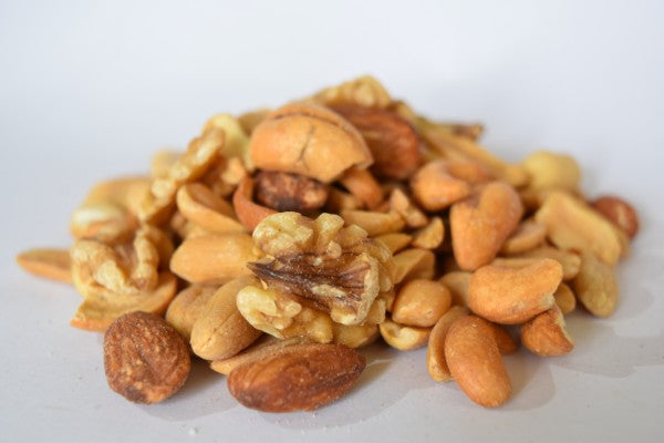 A lightly salted mix of delicious nuts, including walnuts, peanuts, cashews and almonds.