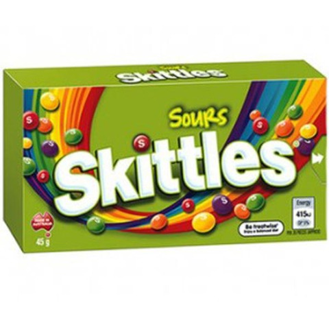SKITTLES Sours Box 45G X 18 - nutsandsweets.com.au