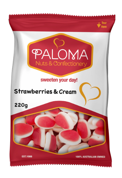 Strawberries and cream gummy lollies by Paloma with sweet taste and gummy