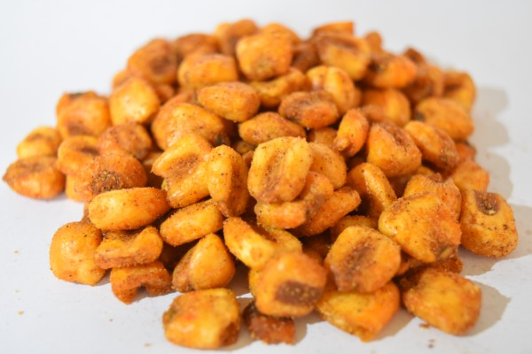 Tasty kernels of corn that have been seasoned and cooked with BBQ spices,