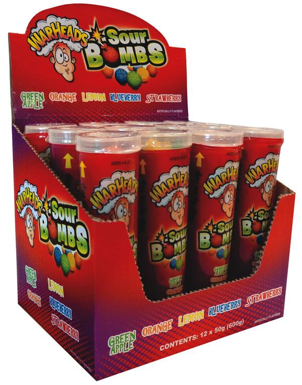Confectionery - Warheads Sour Bombs 50G X 12 - nutsandsweets.com.au