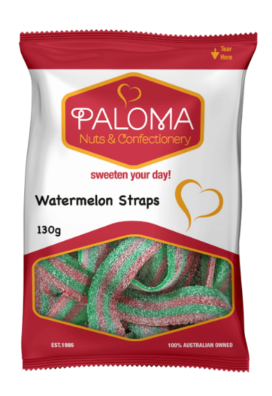 Gummy watermelon straps and belts packed by Paloma candy and confectionery